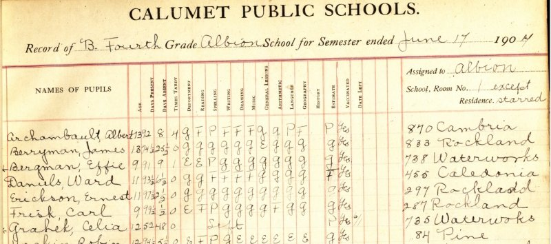 An image of Calumet school records from 1904.