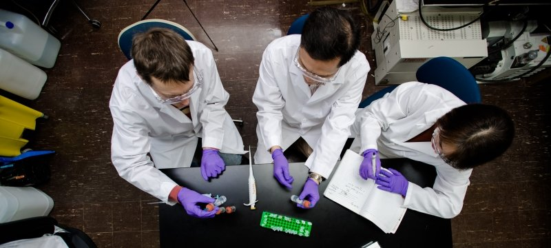 overhead shot of group of people in lab coats