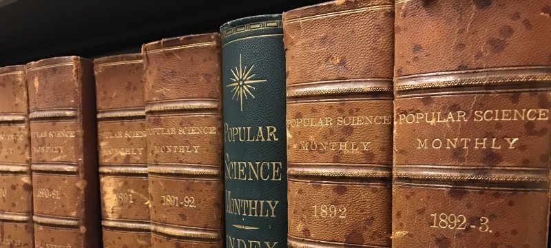 A row of books sit on a shelf, the lettering is faded and reads