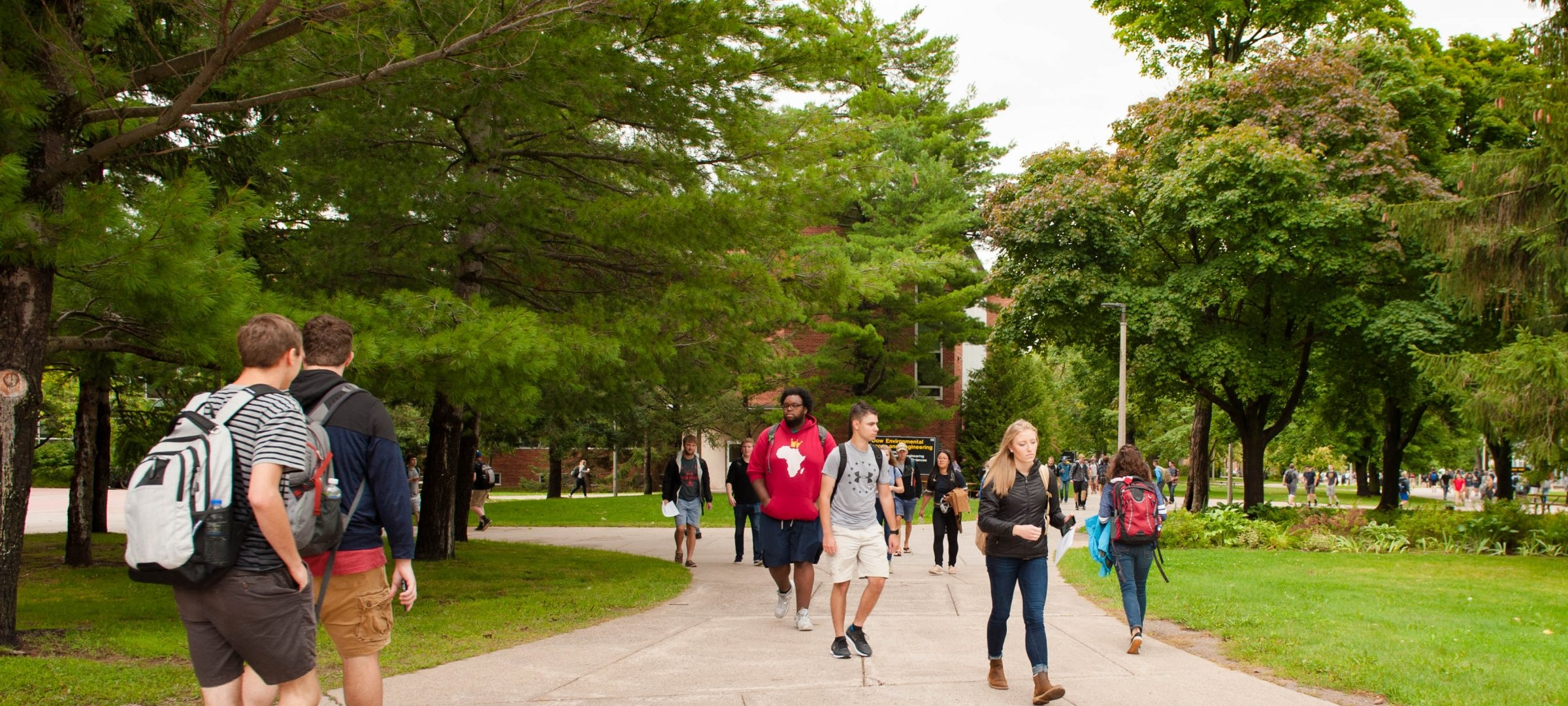 Students walking on the Michigan Tech campus.