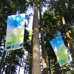 2 fabric hangings of dyed fabric hanging in the woods