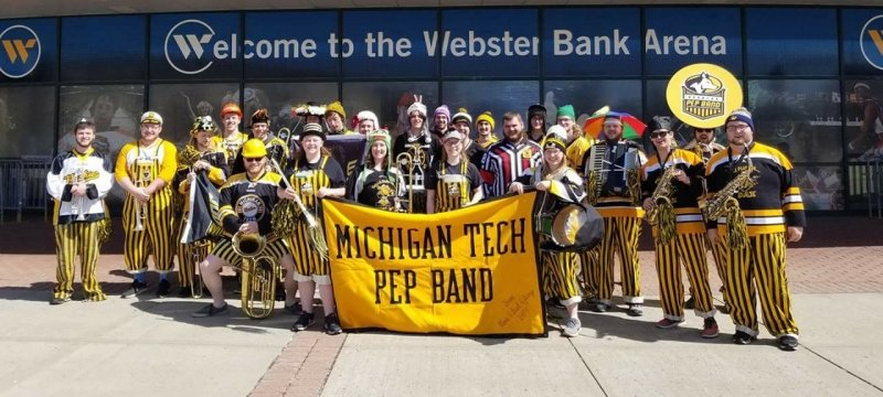 Pep Band in front of the Webster Bank Arena
