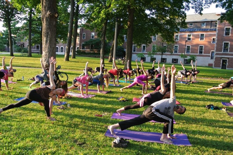 Yoga - students on the lawn.